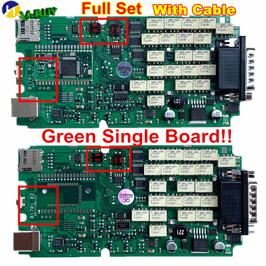 Full Set  A+ Quality Red 701 OBDIICAT TCS PRO Green Relays Single PCB Board Multidiag MVD New Vci With BT 2015.R3/2016R1+Keygen