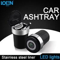 1 SZTUK Samochodów LED Światła Mini Popielniczce Portable Czarny Ze Stali Nierdzewnej Z Kompasem Auton Funkcja 77mm * 110mm Wyposażenie wnętrz
