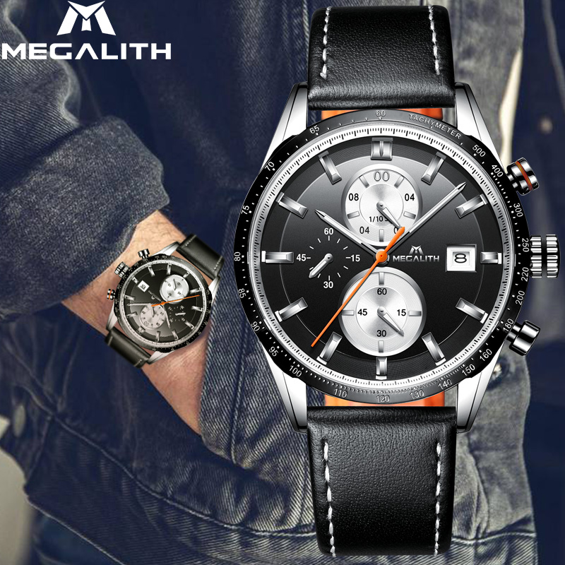 Image 3 - MEGALITH Fashion Mans Quartz Wristwatch Waterproof Sports Chronograp Leather Mens Watches Top Brand Luxury Watch For Male ClockQuartz Watches   -