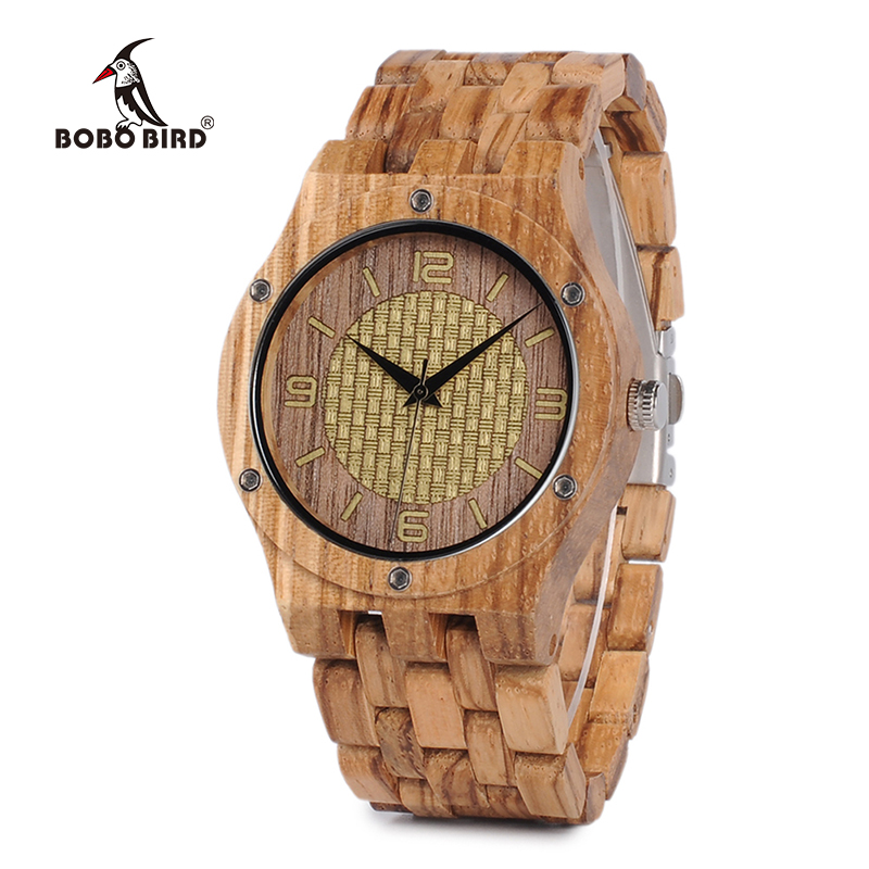 BOBO BIRD Q01 Whole Set Zebra Wood Mens Watch Unique Screws Design Causal Quartz Wristwatch for Male in Wooden Box roomble progetti q01