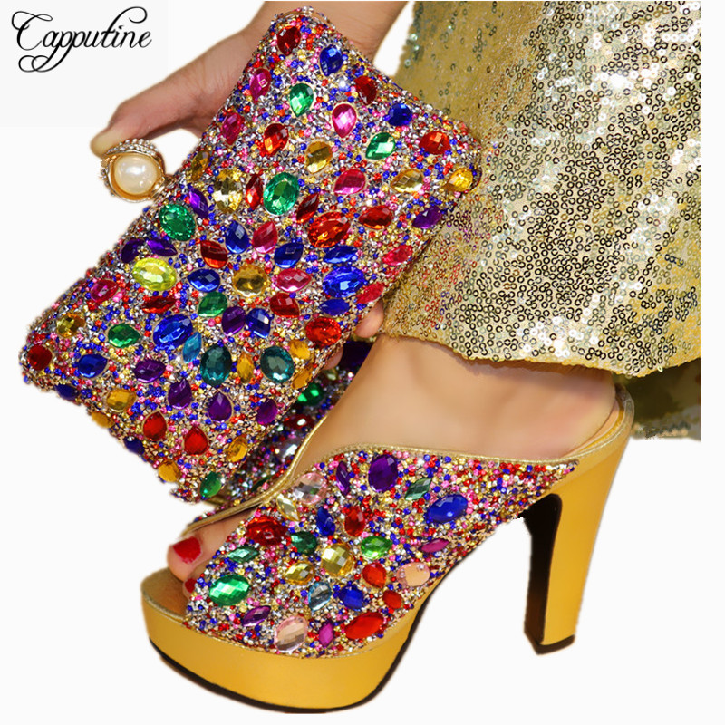 Capputine High Quality Rhinestone Party Shoes And Bag Set Italian Style High Heels Women Pumps Shoes And Bag Set For Wedding capputine italian design rhinestone shoes and bag set africa fashion high heels shoes and bag for wedding party free shipping