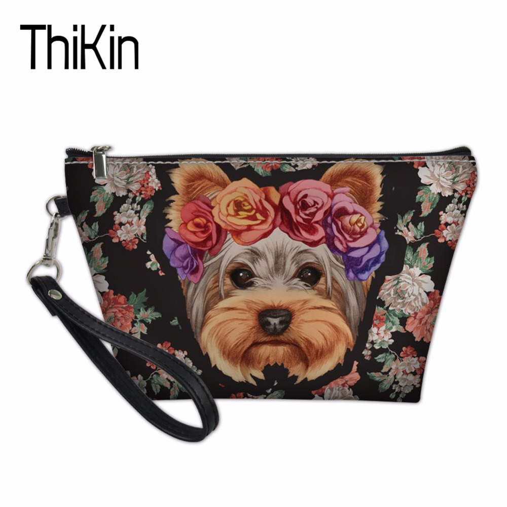 THIKIN Cosmetic Bags for Ladies Beauty Makeup Bag Youkshire Terrier Pattern Organizers Bags Animal Dog Make Up Case Toiletry Bag