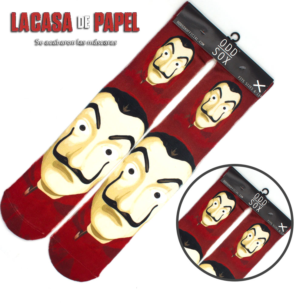 "4x16"" La casa de papel/House of Paper/Money Heist Salvador Dali Face Mask Cotton Socks Colorful Stockings Tights Cosplay Costume"