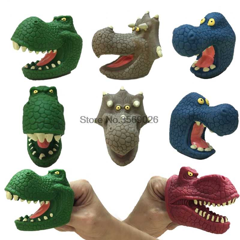 Colorful Cartoon Dinosaur Finger Puppets Animals Dolls Jurassic World Dinosaurs Puppet Interactive Toys For Children Hand Puppet