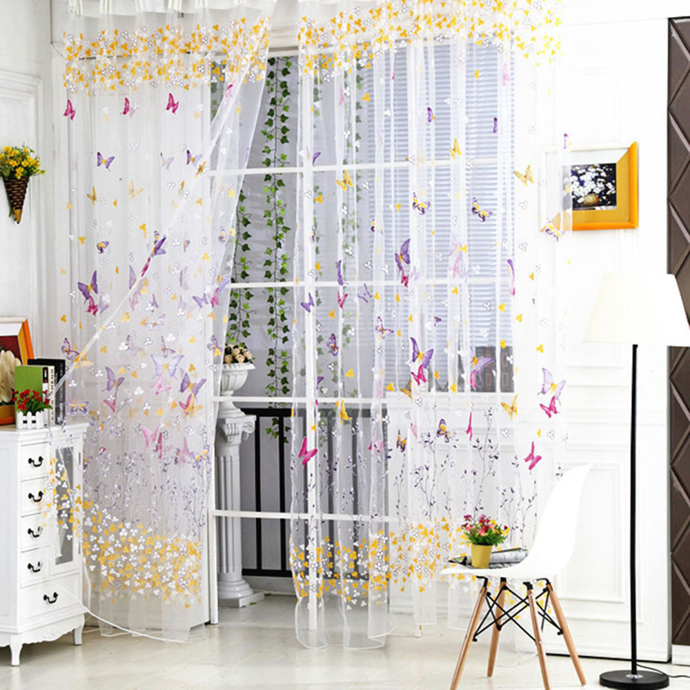 Butterfly Embroidered Tulle Voile Window Curtain Screening Room Balcony Sheer Panel Curtains Scarf Blinds Draps for Bedroom