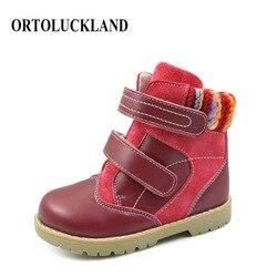 Ortoluckland niñas botas de invierno cálido para nieve niños zapatos ortopédicos de cuero genuino para niños de moda nuevas botas de piel roja al tobillo