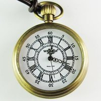 2010 New Artistic Mini Size Pocket Brass Watch Leather Chain