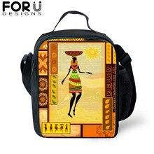 African Black Girl Printing Lunch Bag for Children Messenger Thermal Food Lunch box Picnic Bag Kids Insulation Shoulder bag