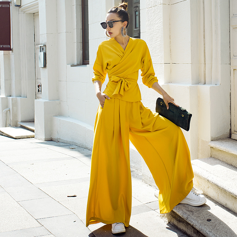 VERRAGEE automne nouvelles femmes ensembles solide couleur jaune haute rue trois-quarts manches col v vintage lâche motif ensembles
