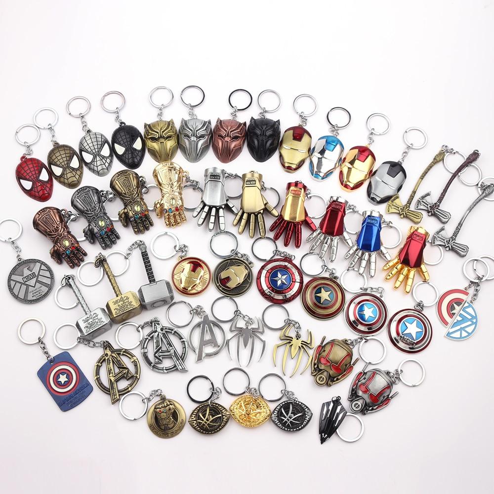 Thor Hammer Marvel Keychain SuperHeroe The Avengers Pendant Keychains Letter A Keyring Porte Clef Chaveiro Iron Man Key Holder 1