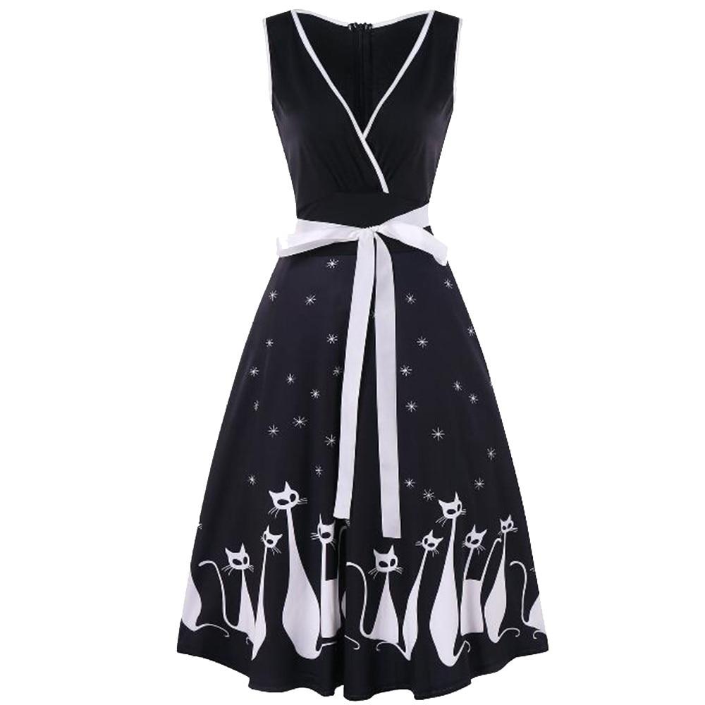 Женское пляжное платье для вечеринки 2019 летнее платье большого размера длиной до колена женское без рукавов с v-образным вырезом ретро с при...