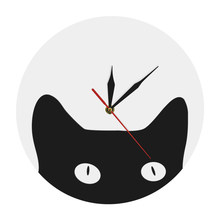 Peeping Cat Cuties Nursery and Kid's Room Animal Wall Clock Funny Crazy Cat Lady Wall Clock Cheeky Kitten Decorative Wall Watch(China)
