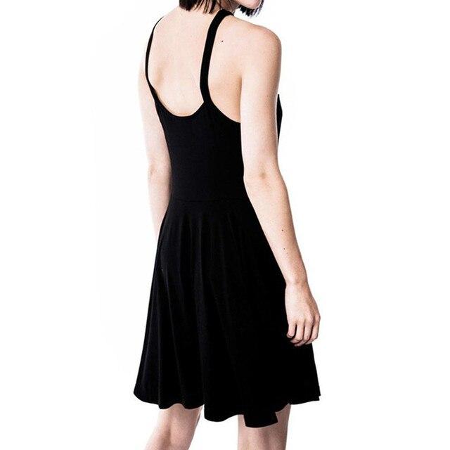 2019 Sexy Summer Women Slim Mini Dress Black Pentagram Women Goth Dress Sexy Fashion Dress 2