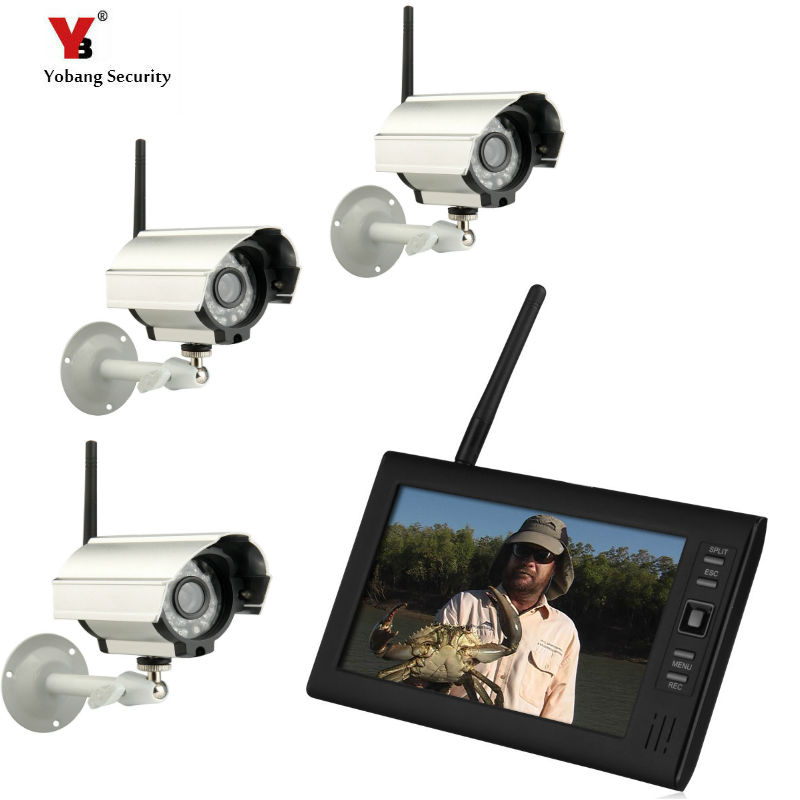 7 inch TFT Digital 2.4G Wireless Cameras Audio Video Baby Monitors 4CH Quad DVR Security System With IR night light Camera