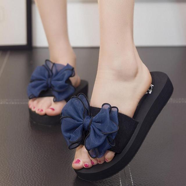 6ec439ddb sweet lace bowtie sandals women candy color flower decoration flip flops  non-slip flat slippers gladiator sandals women shoes y6