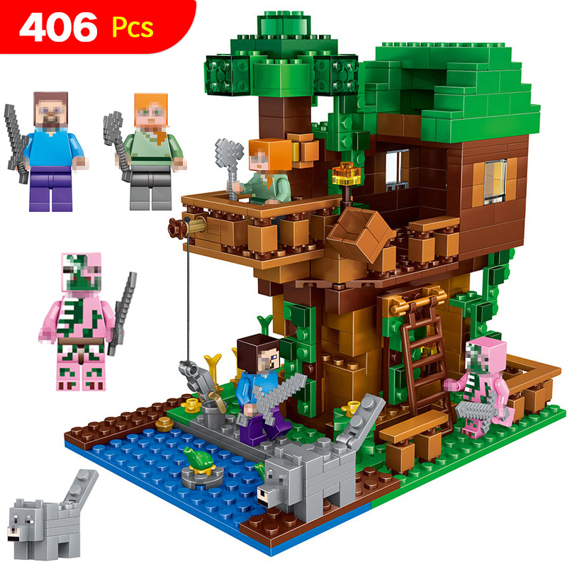 My World Jungle Tree House Compatible LegoINGlys Technic Model Building Blocks Kits Classic Educational Children Toys 406 Pcs lepin 18003 my world series the jungle tree house model building blocks set compatible original 21125 mini toys for children