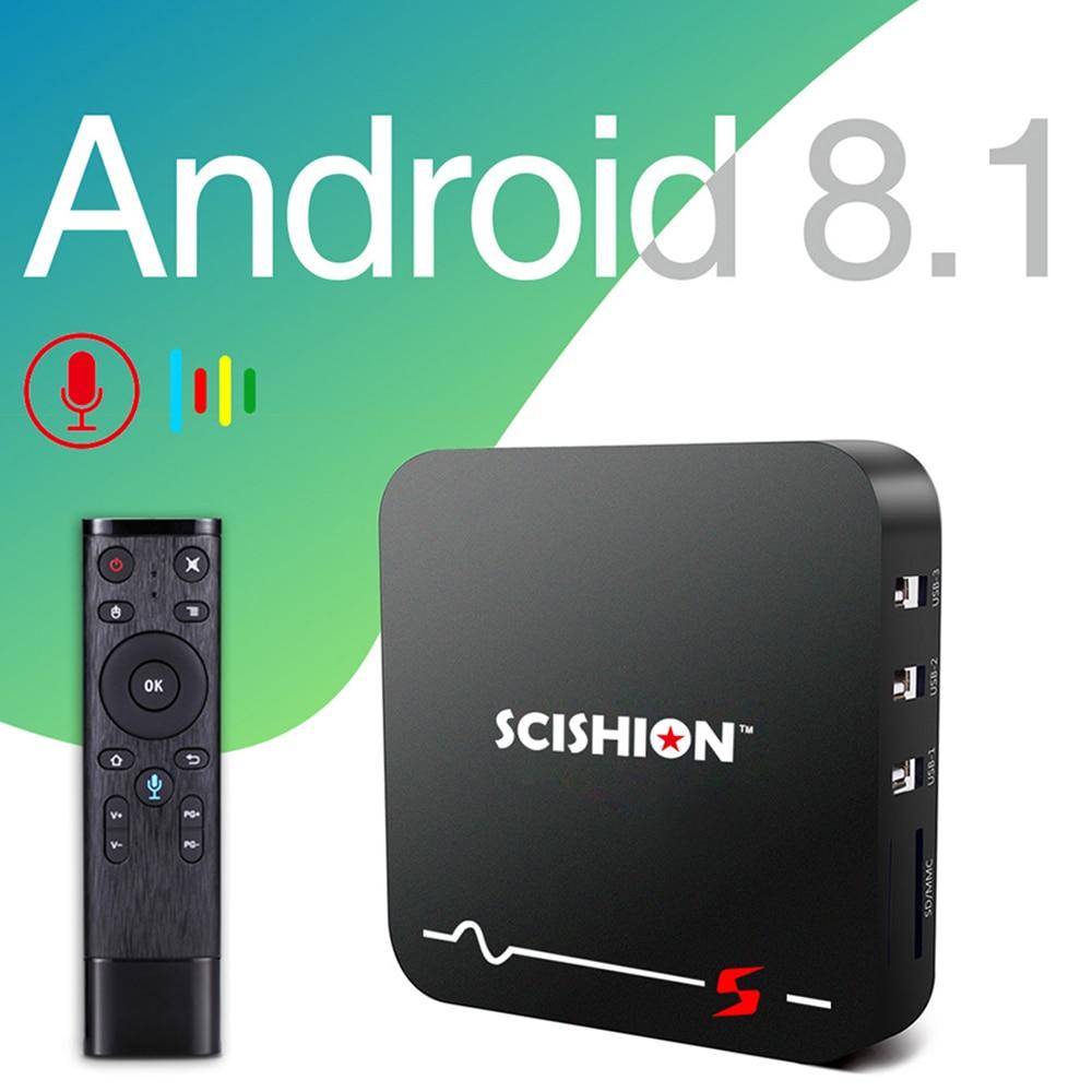 SCISHION modèle S TV Box RK3229 Android 8.1 2 GB RAM 16 GB ROM 2.4G WiFi 100 Mbps Smart TV BOX Support 3D film sensation de corps jeu