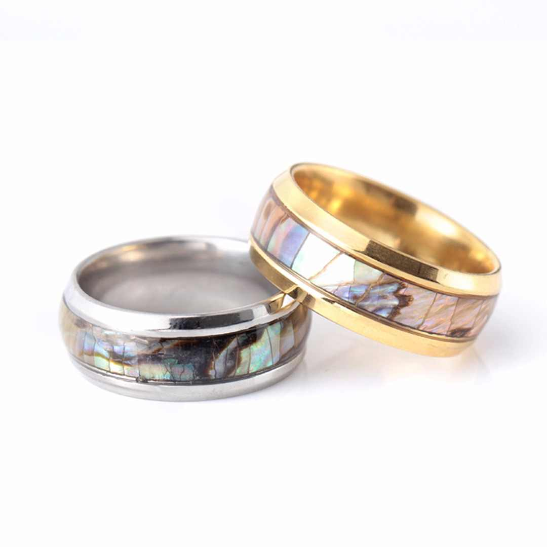 Abalone Shell Stainless Steel Wedding Band Ring Statement Couple Rings For Lovers Shellhard Romantic Jewelry Engagement Gift
