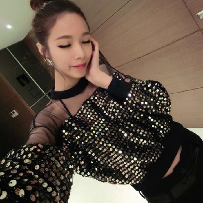 Hipster Brands Fashion Women Shirts Spring&autumn Style Mesh Sexy Exposed Navel Sequins Blouses Casual Crop Tops Black Gold