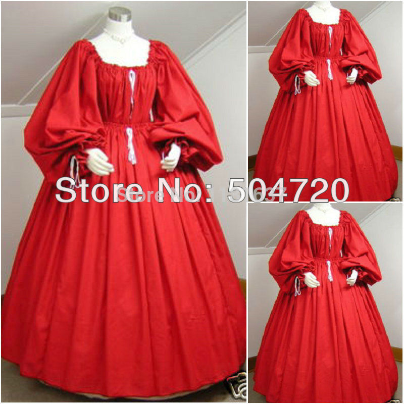 Freeshipping! 1860 S Rosso Guerra Civile Southern belle Ball Gown Dress/Victorian Lolita abiti/scarlett Sz US 6-26 XS-6XL V-202