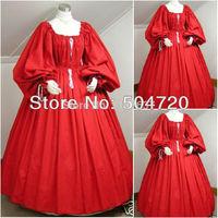 Freeshipping!1860S Red Civil War Southern Belle Ball Gown Dress/Victorian Lolita dresses/scarlett dress Sz US 6 26 XS 6XL V 202