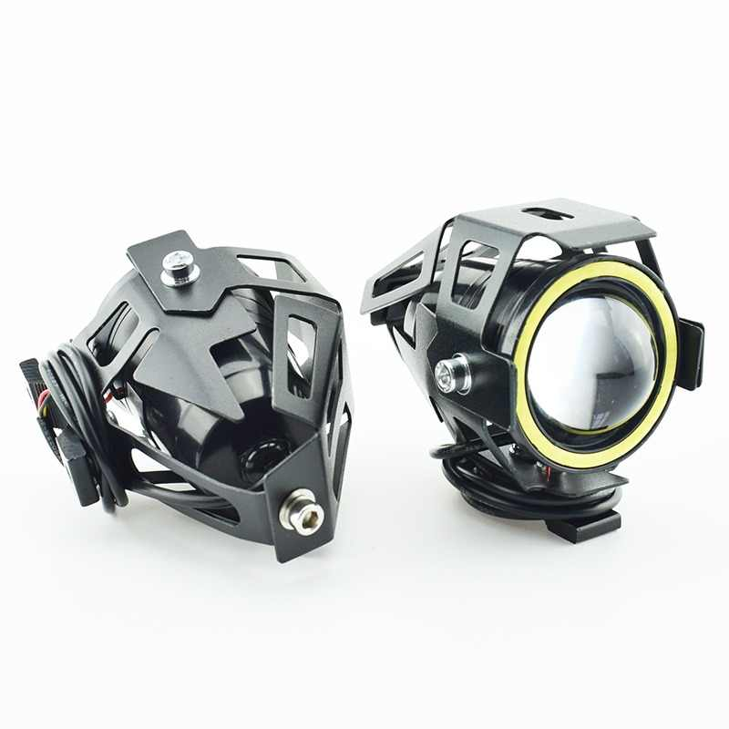 2PCS 125W 12V Motorcycle Headlight 3000LM Upper Low Beam Flash U7 LED Driving Moto Fog Spot Head Light Motorbike Decorative Lamp