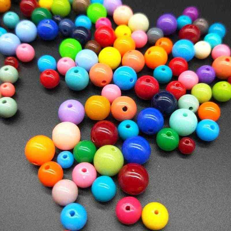 Diy 3mm 200 pçs barato acrílico resina grânulos doces cor acrílico espaçador contas feito à mão crianças jóias accessoires atacado