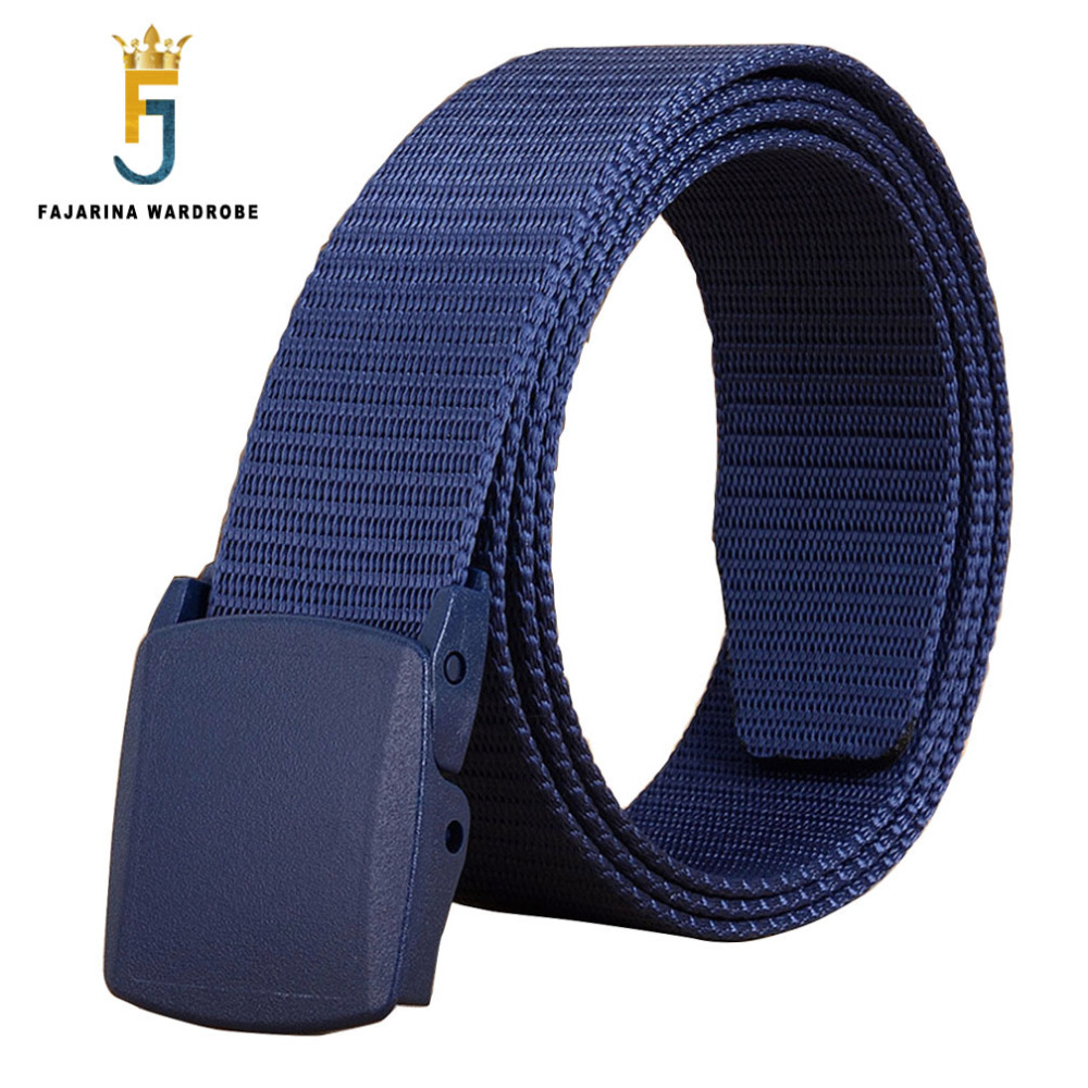 FAJARINA Unisex Quality Blue Plastic Smooth Buckle Canvas Automacit Styles Straped Nylon   Belts   for Men 95-125cm Length CBFJ0028