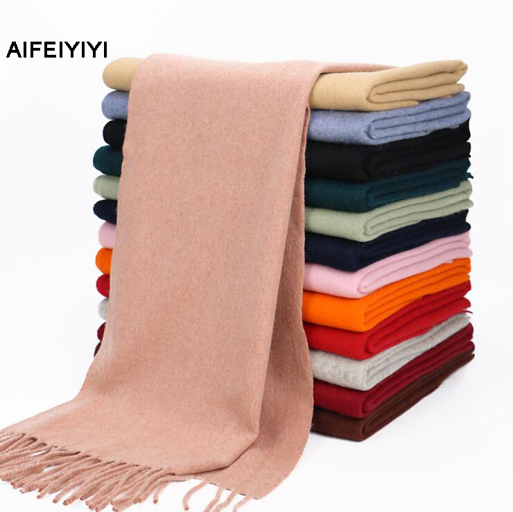 2018 AIFEIYIYI Fashion Women's Pure Color First-Wear Sheepskin Scarf Sheepskin Plain Women's Shawl