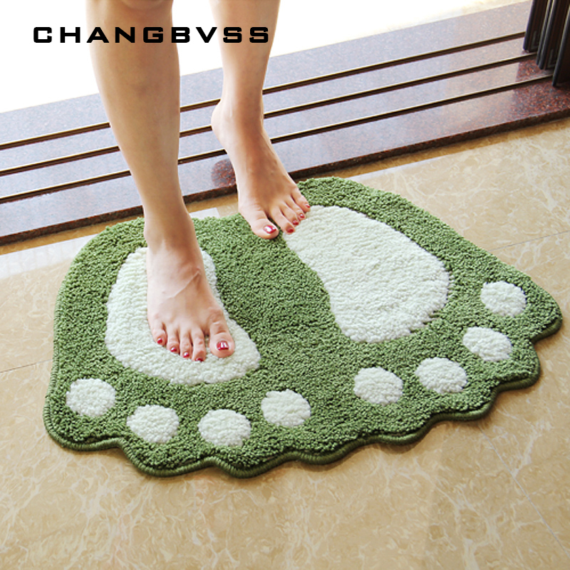 Foot Print Bath Mats Non slip Bathroom Carpet Mat Toilet Tapete Para Banheiro Bathroom Rug Bath Pad Carpets Microfiber Mini Mats in Bath Mats from Home Garden