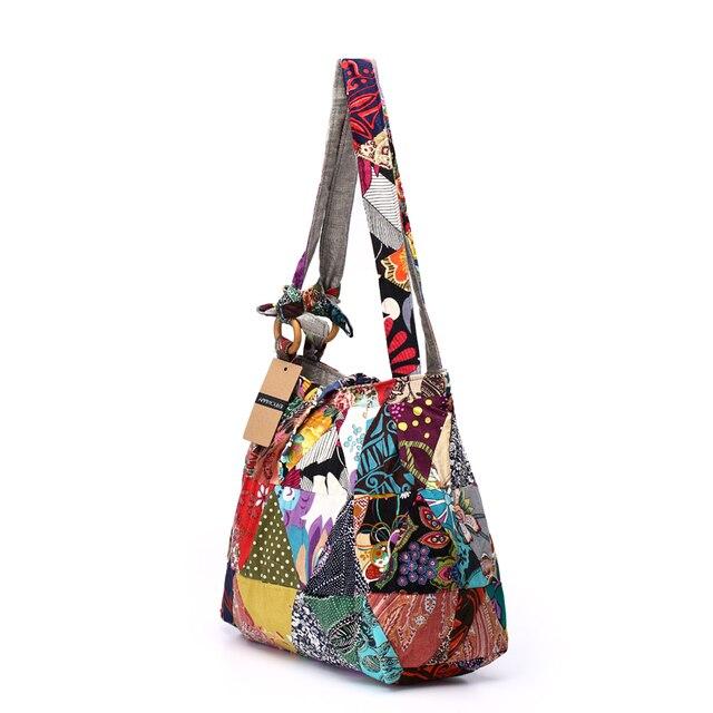 Women Shoulder Bag Cotton Fabric Handbags Adjustable Patchwork Hippie Bag Large Capacity Hobo Gypsy Bag 1