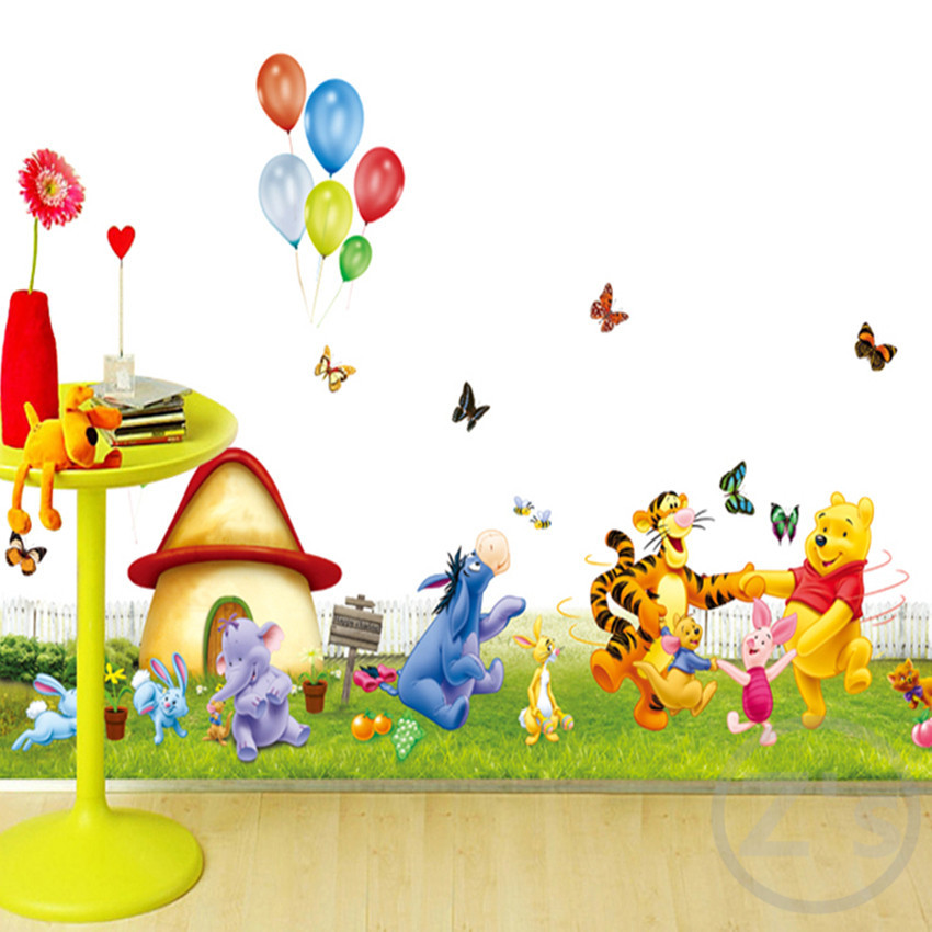 ... Large Size Winnie The Pooh Wall Sticker Home Decor Cartoon Wall Decal  DIY For Kids Room ... Part 69
