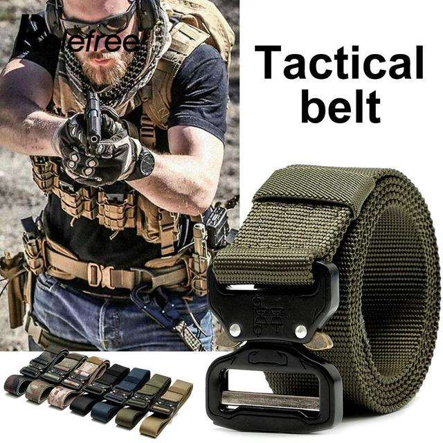 Training Belt Casual Alloy Buckle Hunt Tactical Belt Safety Nylon Webbing Outdoor Durability Waist Straps Practicality 7 Color
