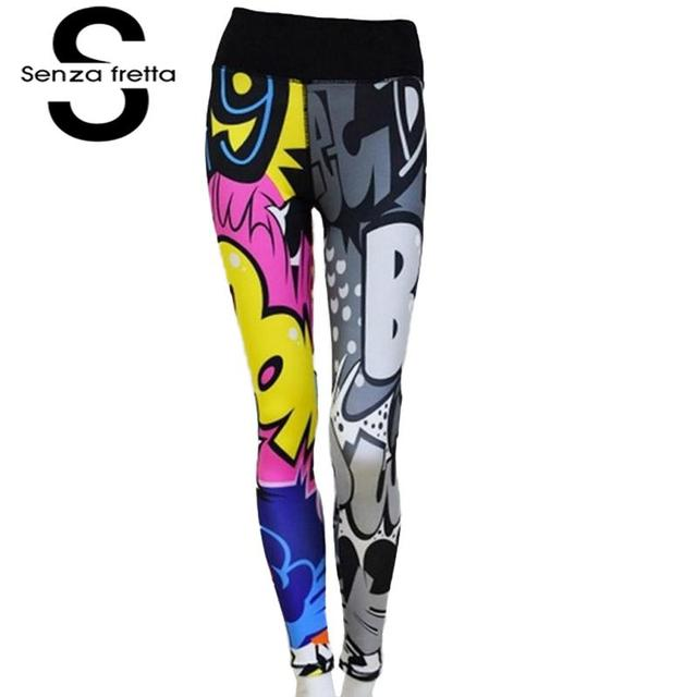 Senza Fretta Women Fitness Leggings High Waist Ankle-length Clothes Workout Women Standard Thickness Casual Roupas Feminina