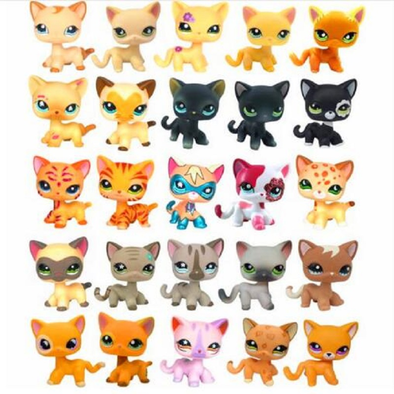 New Lps free delivery pet store toy standing short hair Lps super hero wearing mask animals rare old cat children gift lps toy pet shop cute beach coconut trees and crabs action figure pvc lps toys for children birthday christmas gift