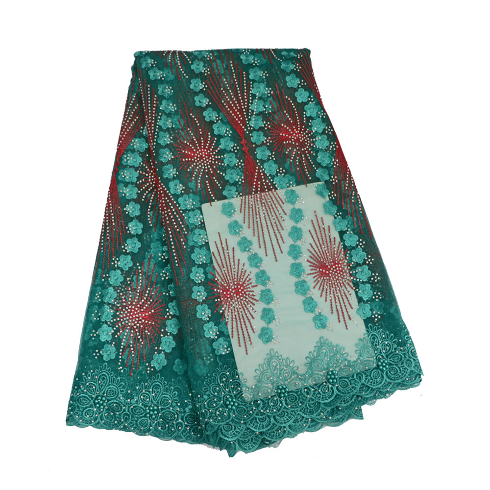 New arrive green 2018 french lace fabric with stones mesh tulle high quality nigerian lace fabrics for wedding HJ542-1     New arrive green 2018 french lace fabric with stones mesh tulle high quality nigerian lace fabrics for wedding HJ542-1
