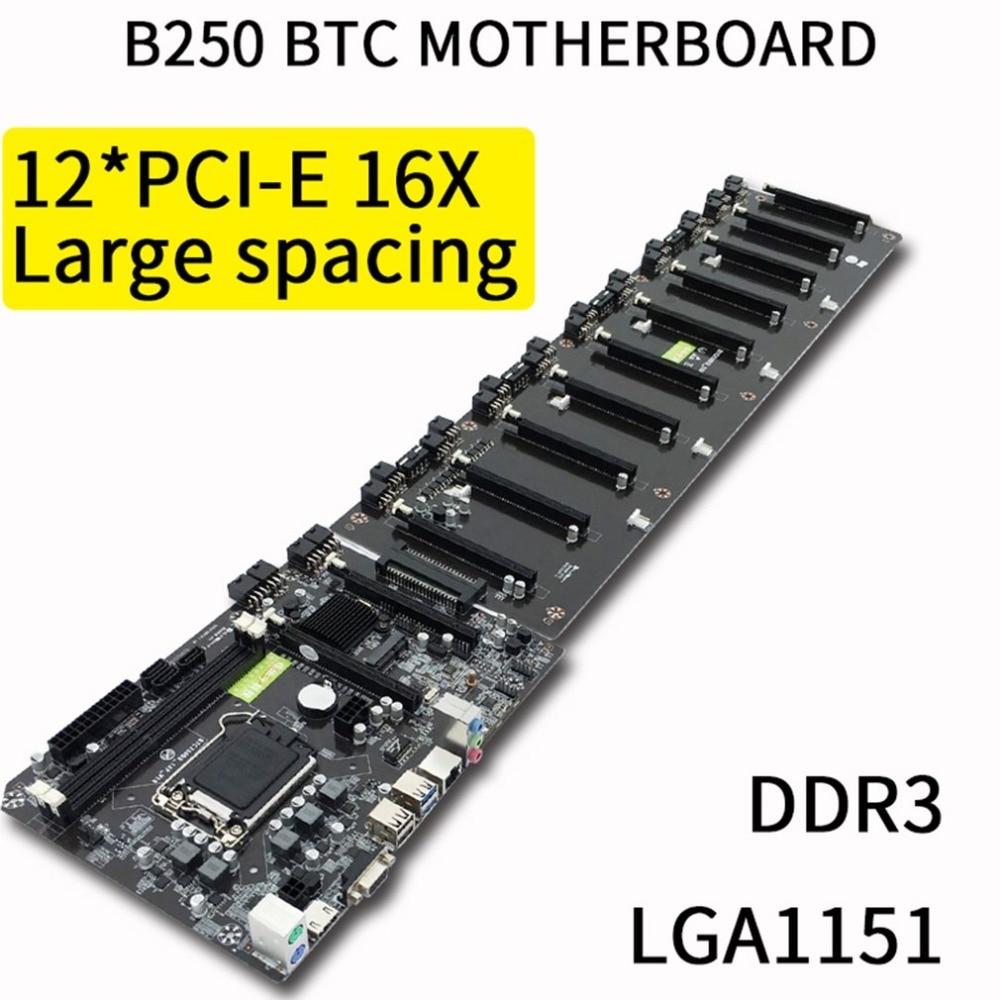 B250 Straight Plug Motherboard DDR3 Sockets 12 x PCI-E X16 Card Sot Integrated CPU LGA 1151 SATA3.0 BTC Motherboard pmv65xp sot 23