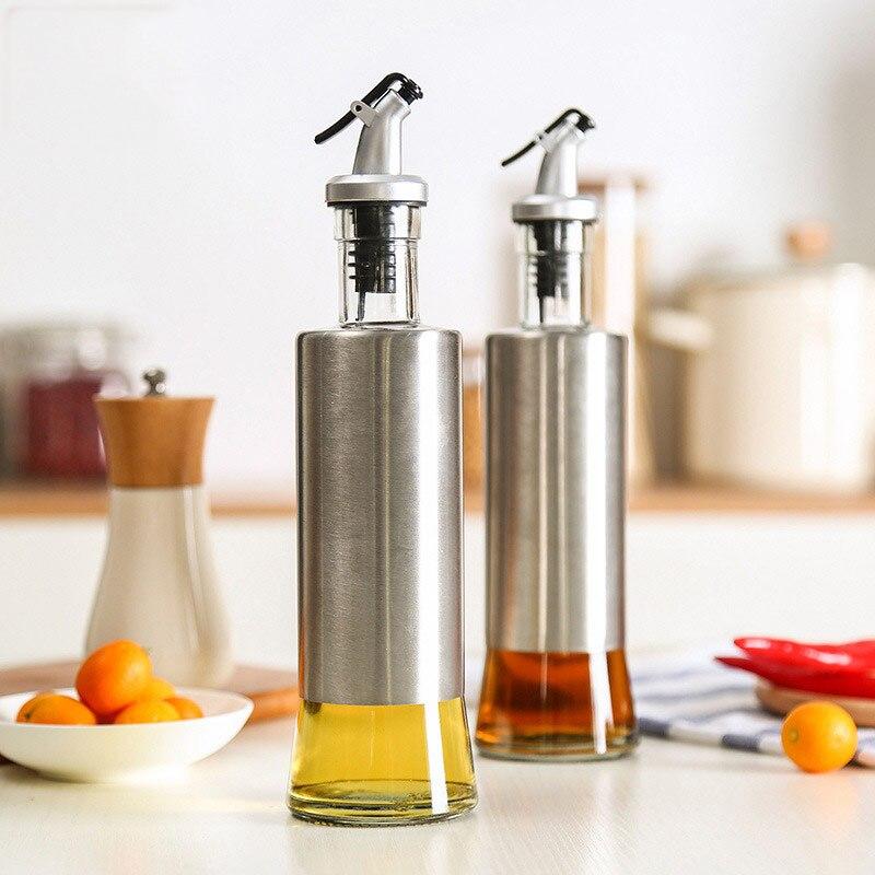 Acier inoxydable Verre Bouteille D'huile De Soja Sauce Vinaigre Bouteille Condiment Bouteille Contrôle et Éviter Fuite Pot Cuisine Cuisine Outils Bouteille