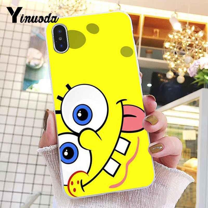 غطاء هاتف من Yinuoda بتصميم سبونجبوب شفاف لين لهاتف iPhone 8 7 6 6S Plus X XS MAX 5 5s SE XR 10