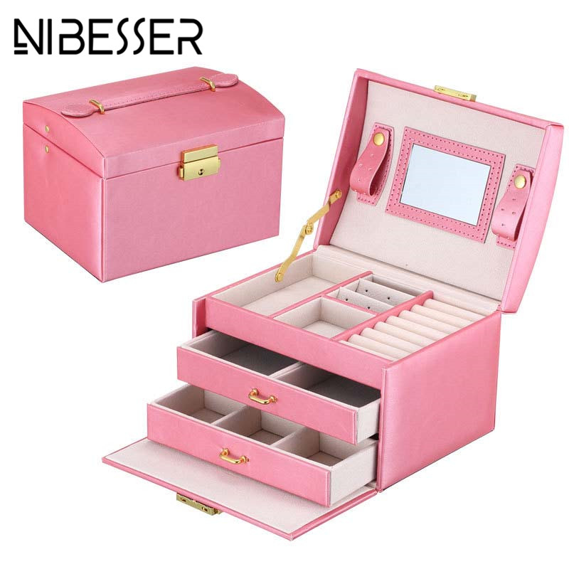 NIBESSER Large Capacity Leather Cosmetic Case Multi-layer Lady Make Up Box Sweet Women Jewelry Organizer Storage Beauty Case large space beauty make up nail tech cosmetic box vanity case storage black