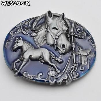 WesBuck marca dos corriendo caballo Cowboy cinturón Hebilla Cowgirls caballo Hebilla Cool Causal Cowboy Hebilla