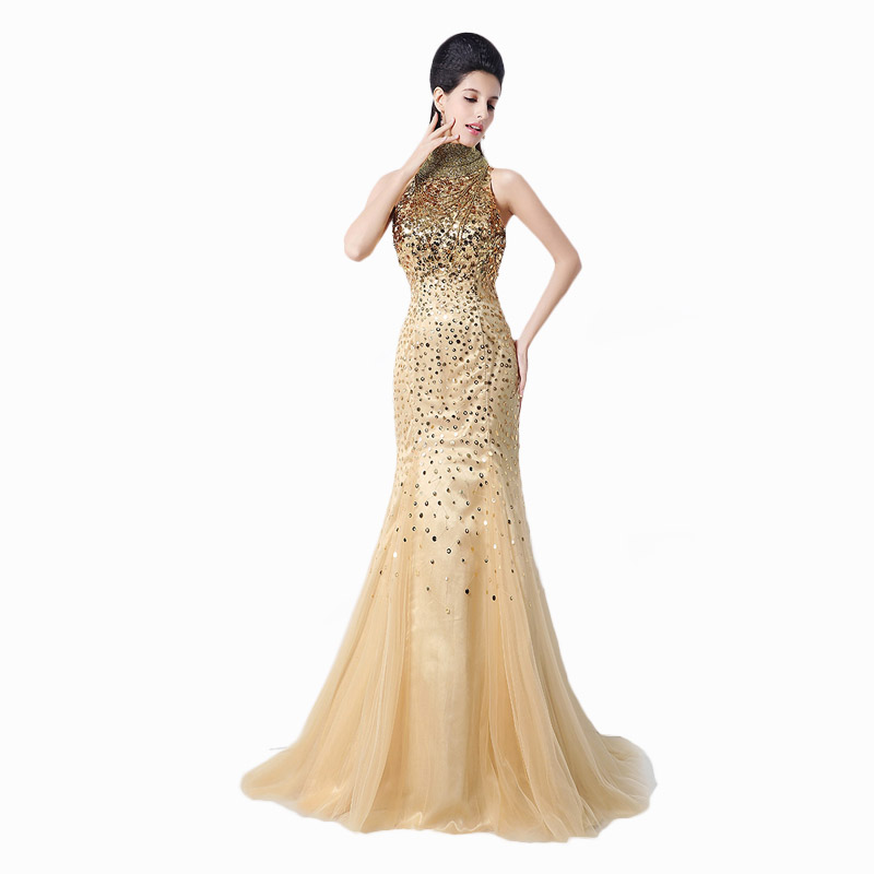 Aliexpress.com : Buy Luxury Gold Sequined arab mermaid dresses ...