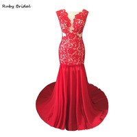 Ruby Bridal 2017 Charming Long Mermaid Red Chiffon Lace Appliques Evening Dresses Sexy Backless Hot Prom