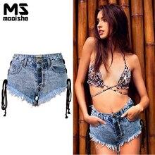 Mooishe Summer High Waist Distressed Cutoff Shorts For Women Side Straps Ripped Tassel Single Breasted Denim Shorts