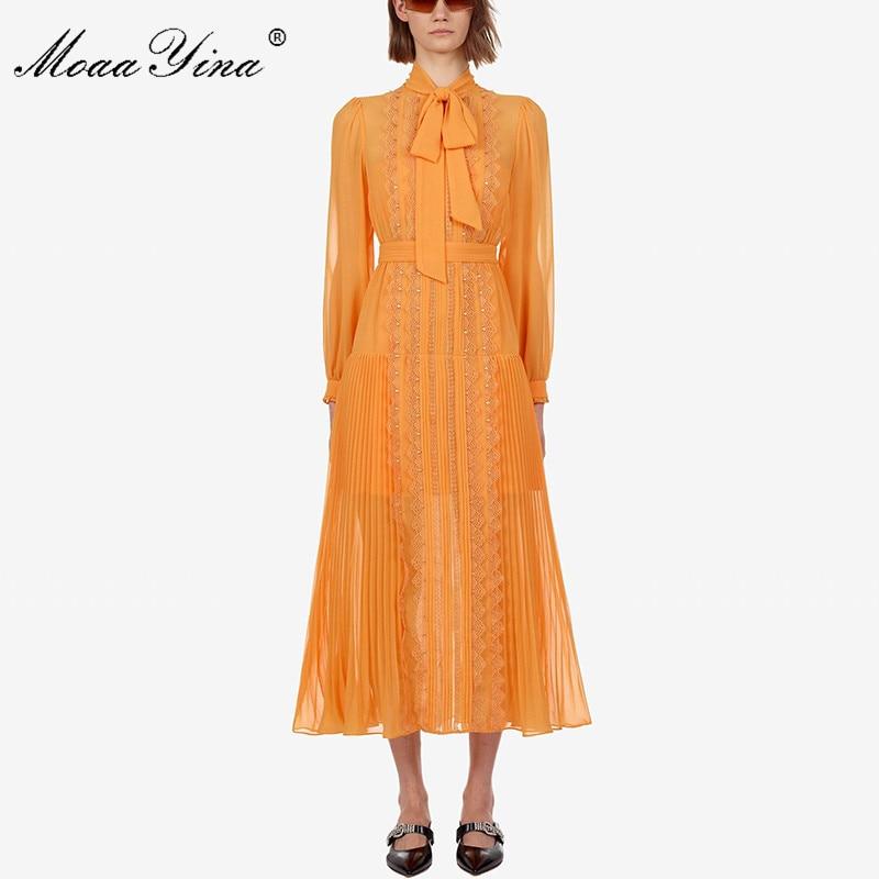 MoaaYina Fashion Designer Runway dress Spring Autumn Yellow Women  Dress Long sleeve Lace Slim Elegant DressesDresses
