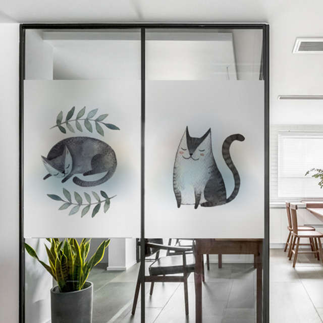 Exceptionnel Frosted Glass Stickers Cartoon Cat Bathrooms Balcony Door Windows  Electrostatic Transparent Opaque Film
