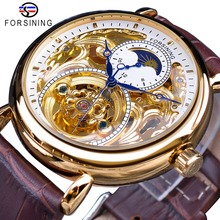 Forsining White Golden Display Brown Genuine Leather Moonphase Design Fashion Blue Hands Mens Mechanical Watch Top Brand Luxury