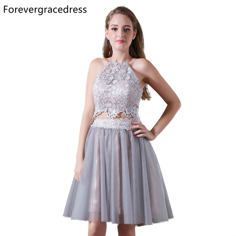 Forevergracedress Real Photos Two Pieces Cocktail Dress Sexy Halter Sleeveless Short Lace Homecoming Party Gown Plus Size