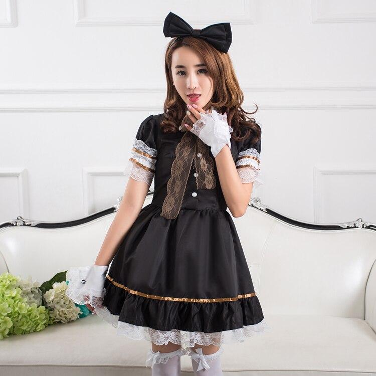 Косплэй костюм горничной аниме обслуживание Cafe партия Лолита черный платье принцессы Show