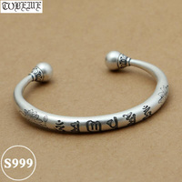 NEW! Real 999 Silver Tibetan OM Mantra Bangle Vintage 999 Silver OM Lotus Flower Bracelet Pure Silver Buddhist Bangle Adjustable